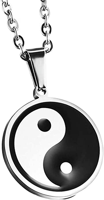 LOPEZ KENT Jewelry Mens Stainless Steel Round Circle Pendant Necklace Silver