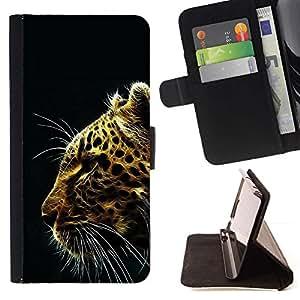 Momo Phone Case / Flip Funda de Cuero Case Cover - Patrón Glow Leopard;;;;;;;; - LG G4