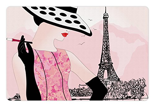 Ambesonne Teen Room Pet Mat for Food and Water, Woman with Hat Smoking in Front of Eiffel Tower in Shabby Pink Design, Non-Slip Rubber Mat for Dogs and Cats, 18