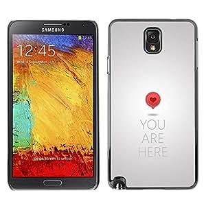 FECELL CITY // Duro Aluminio Pegatina PC Caso decorativo Funda Carcasa de Protección para Samsung Note 3 N9000 N9002 N9005 // Maps Love So Significant