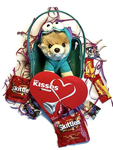 Valentines Day Plush Gift Set (TY Beanie Boo & Hershey kisses & Skittles, Snickers & 3 Musketeers, and Starburst chocolates etc.) (Itty Bitty Monsteroo Boo)