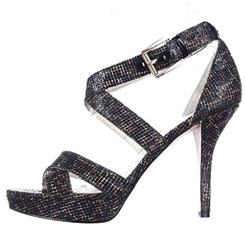 - Michael Kors Womens Evie Platform Calf Hair Open Toe, Cheetah Black, Size 9.0