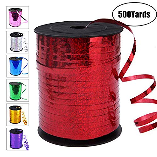 500 Yards Curling Ribbon-Balloon Ribbon-Balloon String for Art&Craft Decor,Gift Wrapping,Ribbons and Bows for Birthday Gifts (Red)
