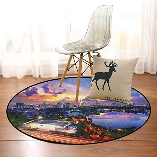 City 3D Printed Round Carpet Vibrant Kuala Lumpur Skyline at Sunset Malaysia Landmark Dramatic Dusk Evening Clouds for Partial Areas D35.4 Inch Multicolor