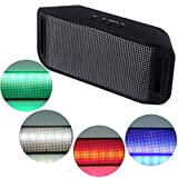 HDE Bluetooth Speaker Wireless LED Light Up Mini Portable Music Player for Smart Phone Tablet PC (Black)