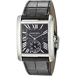 Cartier Men's W5330004 Stainless Steel Automatic Self-Wind Watch with Black Leather Band