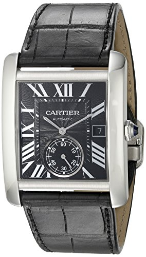 Cartier Men's W5330004 Stainless Steel Automatic Self-Wind Watch with Black Leather Band (Cartier Watch Bands)