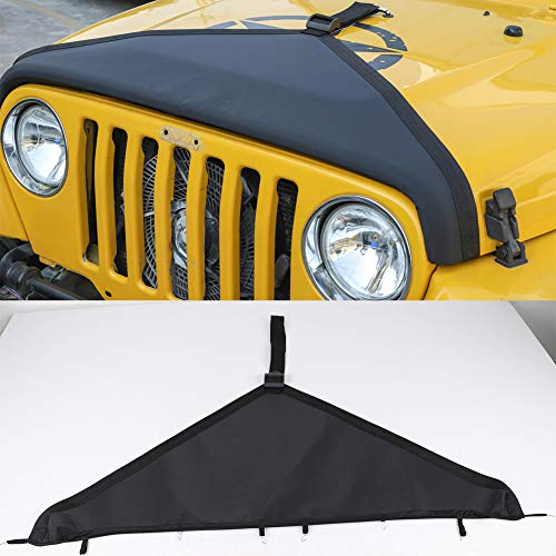 Hgcar Black Canvas Car Engine Hood Cover,Front Hood Cover Bra Protector Cover for Jeep Wrangler TJ 1997-2006