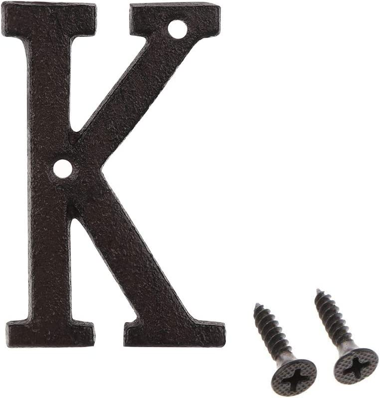Iron House Numbers and Letters, 3 inch Address Numbers Vintage Cast Iron Home Address Number Solid Metal Gate Number, Matching Screws Included, K