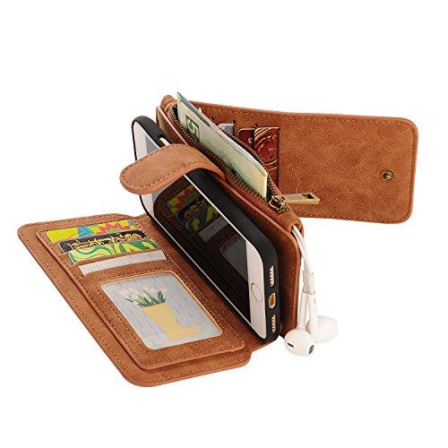 iPhone 7 / iPhone 8 Cordón de bolsillo de cremallera de gran capacidad de cuero Cartera de cuero caso con muñeca separable de 360 grados de protección Portatarjetas de embrague de lujo Caja para iPhon marrón