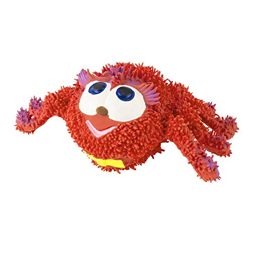Puppy toys for teething, red spider, 100% natural rubber (latex). Lead-free & chemical-free. Complies to same safety standards as children's toys. Help clean teeth and soothe gums