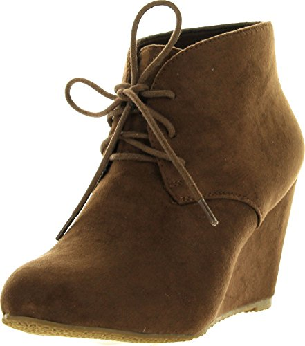 Anna Sally-5 Womens Lace up Wedge Ankle Bootie Chestnut