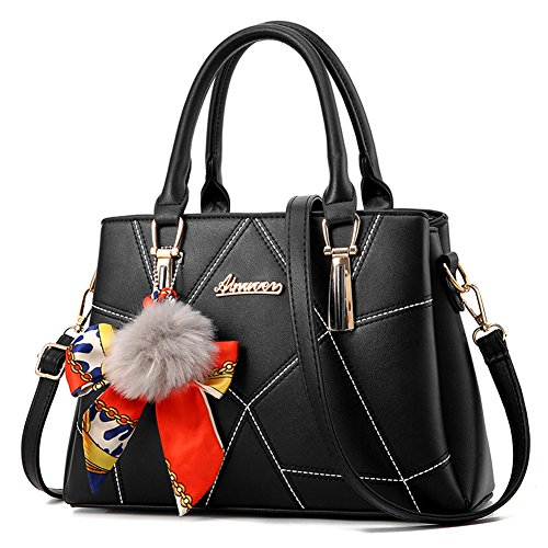 RUIREN Womens Shopper Bolsa de Hombro Paquete Messenger Bag Ladies Handbag Female Bag Handbags Negro