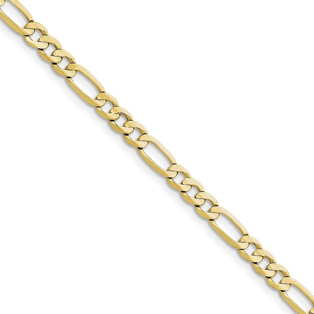10k Yellow Gold 5mm Light Figaro Chain Anklet 9inch