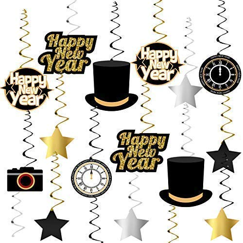 Happy New Year Hanging Swirls – Pack of 33 | New Years Eve Party Supplies 2019 | New Year Party Decorations 2019 | Great for New Years Party Decoration 2019 | Hollywood Oscar NYE Decorations 2019 ()