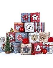 LIHAO Christmas Advent Calendar 24 PCS Cardboard Gift Box Advent Calendar Boxes Unique Design 2021 Christmas Countdown Boxes