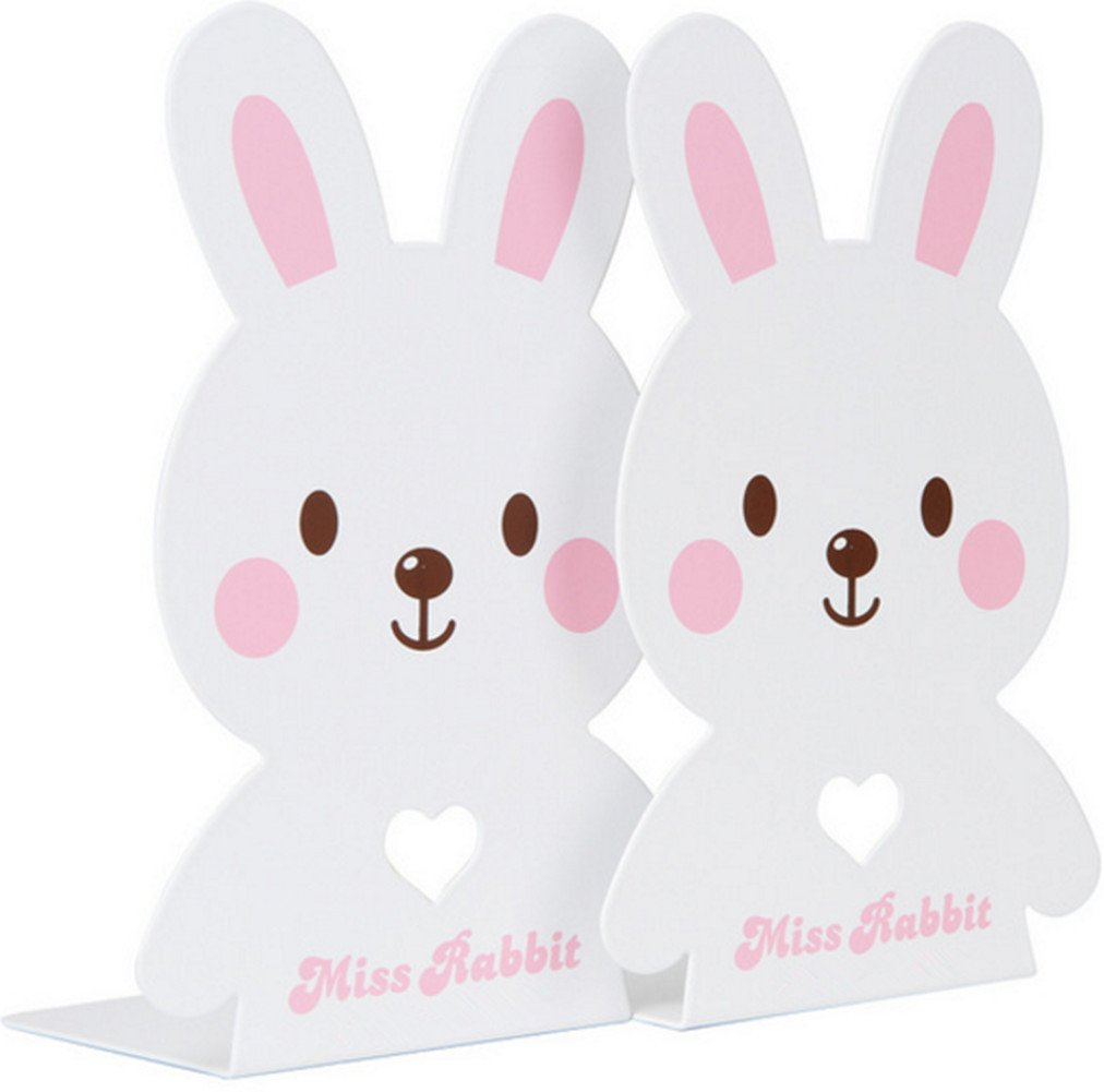 Girls Rabbit Bookends Metal Gifts for Kitchen Shelves Home Office - White HYCONCAM
