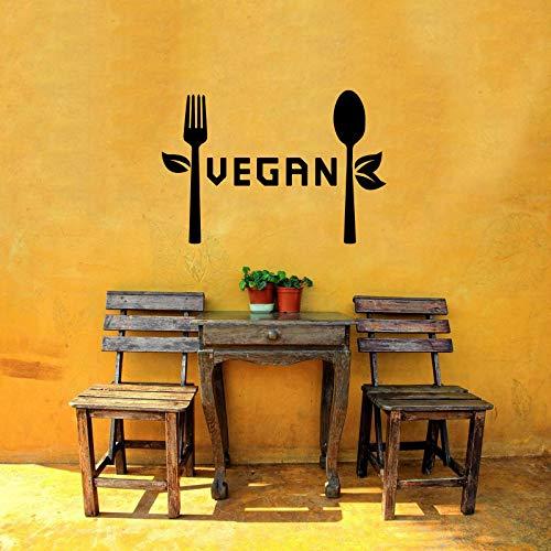 Wall Sticker Vegan Kitchen Restaurant Sign Fork Spoon Healthy Eating Food Cafe Vinyl Mural Decal Art Decor SA3587
