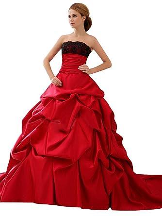 Lemandy Robe De Mariee Rouge Sans Manches Dos Nu Princesse