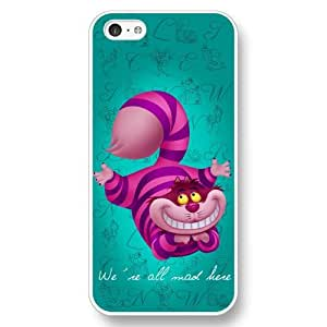Onelee Customized White Hard Plastic iPhone 5c Case, Alice in Wonderland We're all mad here Cheshire Cat Smile Face iPhone 5C case