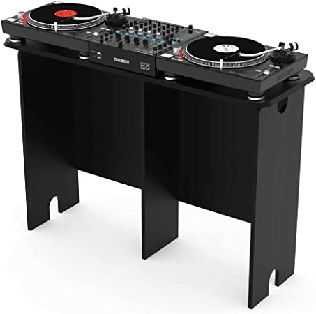 Glorious Mix Station Black - Soporte para 2 tocadiscos o reproductor de CD de tablet y 1 mesa de mezclas de hasta 14 pulgadas de ancho, color negro