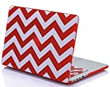 Mosiso Plastic Hard Case Cover with Pattern for MacBook Pro 13 Inch with Retina Display (Chevron Red)