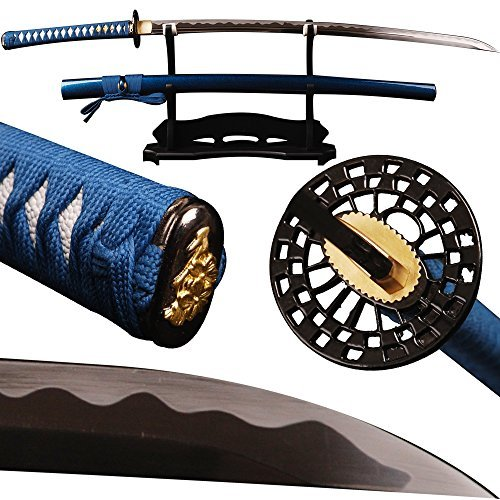 Shijian Swords 1060 Carbon Steel Samurai Katana With Blue Synthetic Silk Ito/Sageo