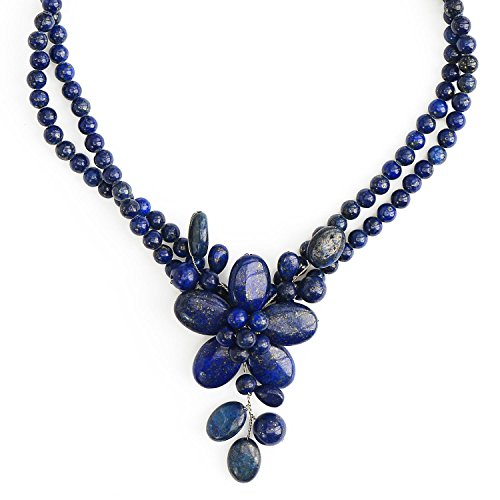 Lapis Lazuli Necklace Blue Flower Necklace With Sterling Silver Clasp by Jewelry to Your Doorstep (Deep Blue Lapis Necklace)