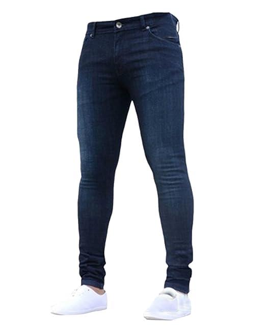 Super Skinny Jeans Hombre Casuales Pantalones Vaqueros Slim ...