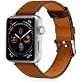 KOLEK Leather Bands Compatible with iWatch, Leather Band for Women/Men Compatible with iWatch Series 4/3/2/1 (42mm/44mm, Brown)