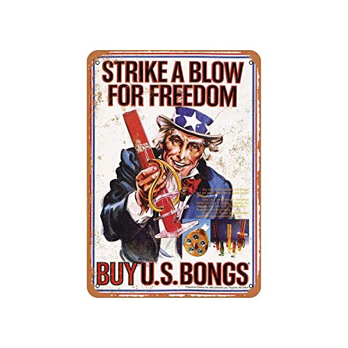 Fhdang Decor Vintage Pattern 1977 Buy U.S. Bongs from Uncle Sam Vintage Look Aluminum Sign Metal Sign,8x12 Inches