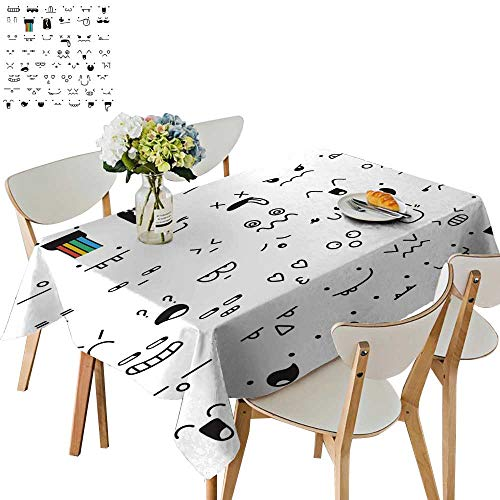 (UHOO2018 Polyester Fabric Tablecloth Square/Rectangle Piece doddle Emotions to Create Characters Emotions for Design IME for Picnic,Outdoor or Indoor,54 x120inch. )