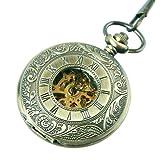 Mechanical Pocket Watch Skeleton Movement Pocket Hand Wind Roman Numerals Bronze Steampunk Cosplay - PW67