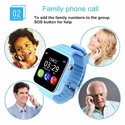 Smart Watch for Kids, GIZEE GPS Tracker Wrist Watch with Camera Anti-lost SOS Remote Monitor for Children Safety, Compatible with IOS Android iPhone Samsung etc. (Pink)