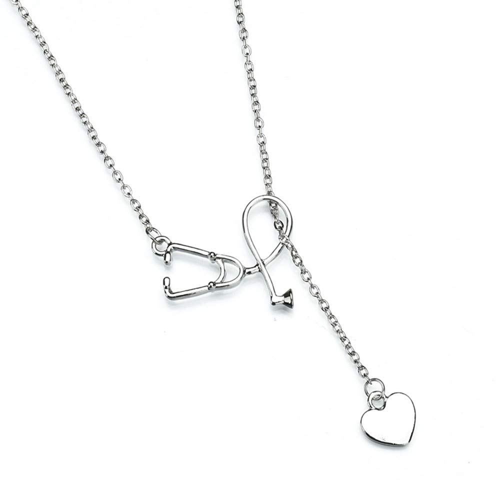 Swyss Heart-Shape Necklace Stethoscope Pendant Necklaces for Women Creative Fashion Jewelry Gift