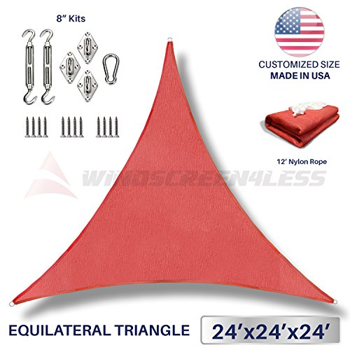 Windscreen4less 24 x 24 x 24 Equilateral Triangle Sun Shade Sail with 8 inch Hardware Kit – Red Durable UV Shelter Canopy for Patio Outdoor Backyard – Custom Size