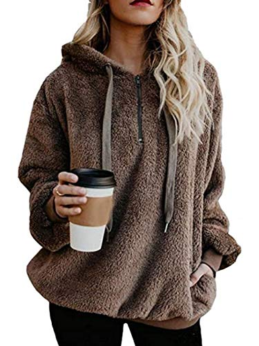 Famulily Women's 1/4 Zip Fuzzy Loose Sherpa Pullover Tops Fleece Hooded Sweatshirt with Pocket Brown M ()