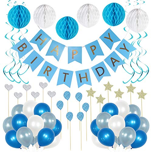 Birthday Decorations for Boys and Girls - Blue and White Party Decoration Supplies. Photo booth backdrop with balloons, cupcake topper for baby shower, gender reveal, birthday celebrations for adults. ()