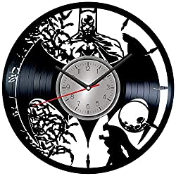 Batman Vinyl Wall Clock - Home Decor Him Her Birthday Christmas Anniversary - Themed Clock for Superheroes Lovers Fans - Kids Living Room Kitchen Wall Art - 12 Inches