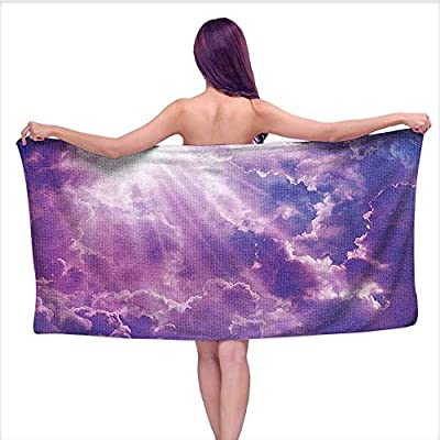 Bath Towel? Sun and Heavy Clouds Ative Picture Purple White,Beach Towels for Kids & Adults, Pool, Swim, Water Sports