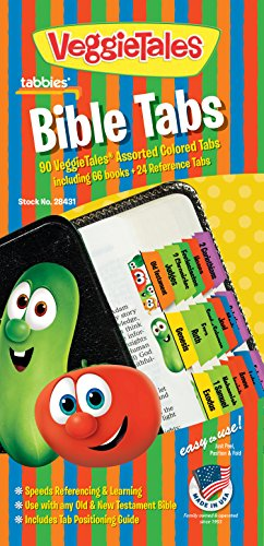 Tabbies VeggieTales Bible Tabs Old & New Testament, 90 Assorted Including 66 Books & 24 Reference Tabs Any Sized Bible (28431)
