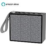 Caseland Wifi + Bluetooth Portable Smart Speakers with Amazon Alexa Voice Control IP56 Waterproof Wireless Multi-Room Music Subwoofer Stereo Sound Alexa Smart Speaker Fabric Design Black