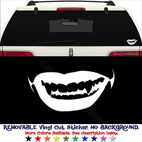 GottaLoveStickerz Sexy Vampire Girl Lips Kiss Removable Vinyl Decal Sticker for Laptop Tablet Helmet Windows Wall Decor Car Truck Motorcycle - Size (12 Inch / 30 cm Wide) - Color (Matte Red)