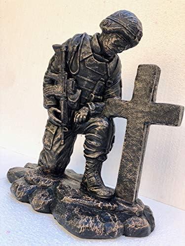 Solid Rock Stoneworks Kneeling Soldier at Cross