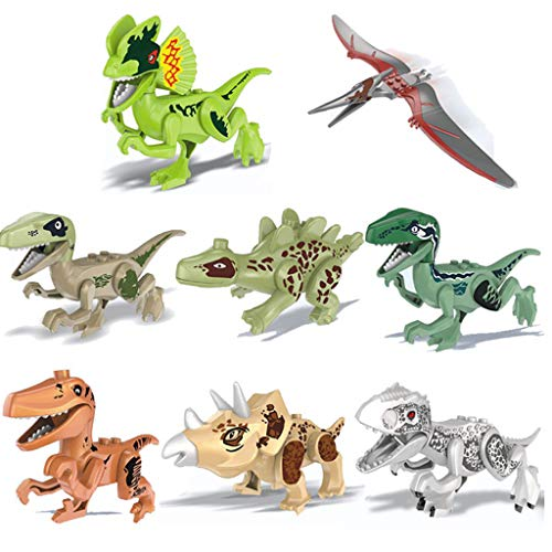 Amaping 8 Pack Mini Dinosaur Action Figures DIY Building Blocks Playset Party Favors Toys for Kids Boys Toddler Educational Toy (Multicolor)