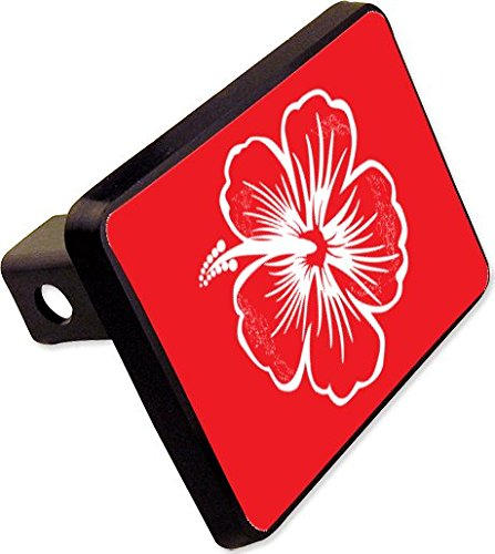 Hibiscus Flower Red Trailer Hitch Cover Plug Beach Plant Novelty ()
