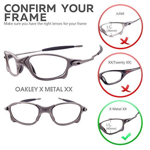 912ad3210c New Walleva Polarized Titanium + Black Lenses For Oakley X Metal XX at  Amazon Women s Clothing store  Sports Fan Shot Glasses