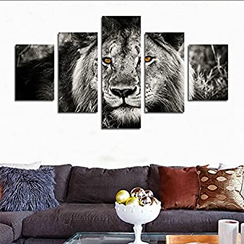 H.COZY 5 Piece Black And White Gray Lion Head Portrait Wall Art Painting  Pictures Print On Canvas Animal The Picture For Home Modern Decoration  Unframed ...