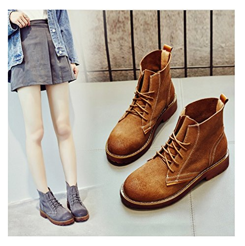 Lace Shoes Boots Boots Women Camel Ankle Up Always for Leather Casual Combat Pretty tqCwxYSAnT