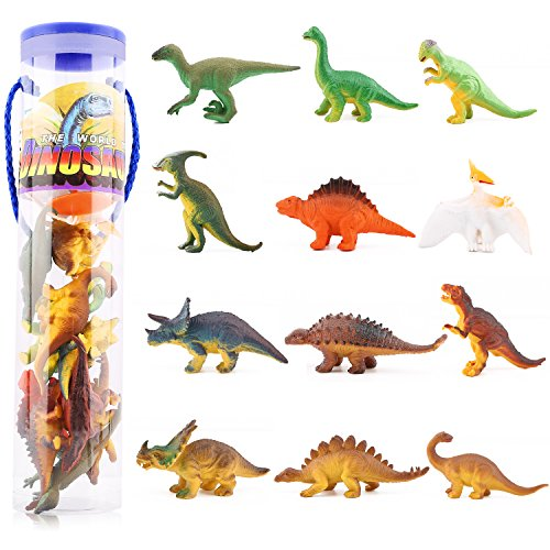 Zooawa 12 Pcs Mini Dinosaur Play Set, Assorted Realistic Small Dinosaur Figure Model Toy for Kids and Toddlers - Colorful -